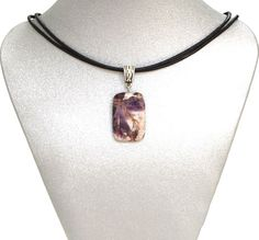 Natural Gemstone Amethyst Rectangle Pendant Necklace Cord  Fengshui Chakra USA #Handmade #Pendant #Healing #Protection #Goodluck #Semiprecious #Stone