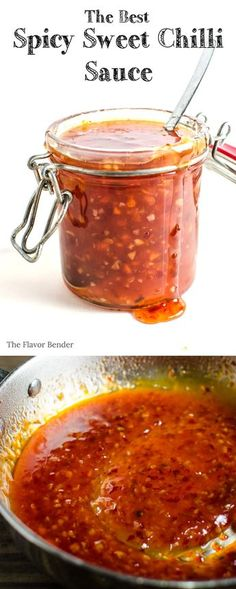 Spicy Sweet Chilli Sauce - Easy to make, absolutely delicious, with an extra kick of spice this is the BEST Sweet chilli sauce you will EVER have! Perfect dip/ sauce for gatherings like The Super Bowl, Game day or any of party! - Dini @ The Flavor Bender Sweet Chilli Sauce, Sweet Chili Sauce Recipe Easy, Spicy Stir Fry Sauce, Chilli Chilli, Sauce Chili, Spicy Soup, Spicy Thai, Chilli Flakes, Sweet Sauce