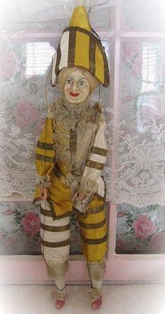 Circa 1880s Antique French All Original Polichinelle Doll