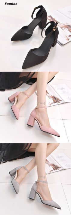 [Visit to Buy] Women Sandals 2016 New High Heels Ladies Pumps Sexy Thick Heels Footwear Woman Shoes zapatillas mujer sapato feminino chaussure #Advertisement