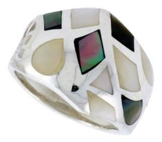 """Sterling Silver Freeform Shell Ring, w/Black & White Mother of Pearl Inlay, 3/4"""" (19mm) wide, size 9.5 Sabrina Silver. $42.30"""