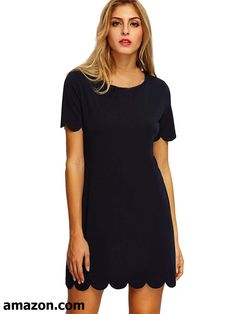 5d1d06df87 Romwe Women s Short Sleeve Casual A-Line Mini Party Dress Black M at Amazon  Women s Clothing store