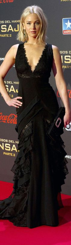 Jennifer Lawrence In Ralph Lauren Collection – 'The Hunger Games: Mockingjay – Part 2' Madrid Photocall & Premiere