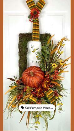 Thanksgiving Wreaths, Autumn Wreaths, Thanksgiving Decorations, Wreath Fall, Diy Crafts For Home Decor, Fall Home Decor, Fall Crafts, Autumn Decorating, Pumpkin Decorating