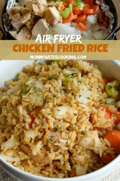 This Air Fryer Chicken Fried Rice is GLUTEN FREE! YAYA Thank you and for sharing! I know what I'm having for dinner tonight! Make this delicious Gluten Free Air Fryer Chicken Fried Rice in just 10 minutes! Air Fryer Recipes Potatoes, Air Fryer Dinner Recipes, Air Fryer Oven Recipes, Air Fryer Chicken Recipes, Air Fryer Recipes Gluten Free, Air Fryer Fried Chicken, Air Fryer Recipes Vegetables, Vegetable Recipes, Air Frier Recipes