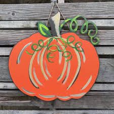 with this pumping door hanger make your entry way adorable to everyone. It makes the perfect decoration for any front door Fall Wood Crafts, Pumpkin Door Hanger, Fall Door Hangers, Wooden Picture Frames, Wooden Shapes, Wood Cutouts, Happy Fall Y'all, Wooden Letters, Craft Party