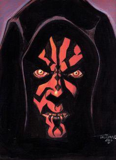 Sith Darth Maul The Phantom Menace Star Wars Jedi Lightsaber Original Art