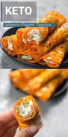 These Keto Jalapeño Popper Taquitos are loaded with fresh jalapeños and bacon! These Keto Jalapeño Popper Taquitos are loaded with fresh jalapeños and bacon! This is the easiest keto appetizer ever and under three net carbs per serving! Ketogenic Recipes, Ketogenic Diet, Low Carb Recipes, Diet Recipes, Cooking Recipes, Bacon Recipes Keto, Pureed Food Recipes, Quiche Recipes, Clean Recipes