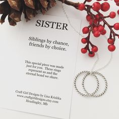 S I S T E R S FAMILY NECKLACE.  A personal favorite from my Etsy shop https://www.etsy.com/listing/477745294/sisters-necklace-eternal-infinity-rings