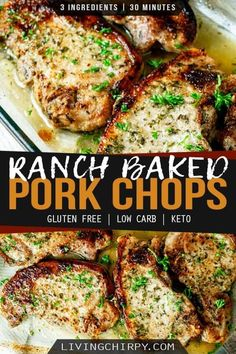 This juicy Ranch Oven Baked Pork Chops recipe is super easy and super delicious. It needs just 4 ingredients and 30 minutes. Healthy Low Carb Recipes, Diet Recipes, Cooking Recipes, Carb Free Recipes, Easy To Cook Recipes, Recipes Using Pork Chops, Low Carb Dinner Ideas, Easy Dinner Recipes Pork, Gluten Free Recipes