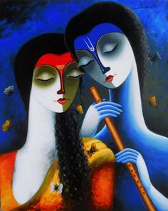 """Harmony"" by Santosh Chattopadhyay  #AcrylicOnCanvas #IndianArt #BuyingArtOnline #ReligiousArt #IndianPaintings"