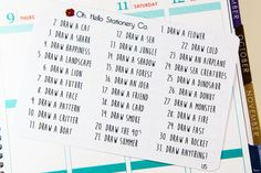 This set will include 31 drawing prompts for a 31 day drawing challenge! They work great in Erin Condren Life Planners and other planners! They are printed on g