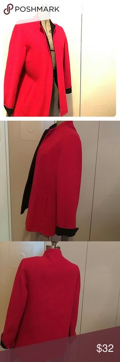 Talbot's a finely cut wool jacket in black and red Talbot jacket is work appropriate or dress down for a casual weekend. From the Talbots petites collection , size 14. 1 side red inside black. 69% rule 23% nylon 8% Cashmere. Dry clean only. Jacket has been worn but is in excellent vintage condition. Two front pockets and darts at chest inshore a becoming style for the jacket. 3 inch side slits on side of jacket. Talbots Jackets & Coats Blazers