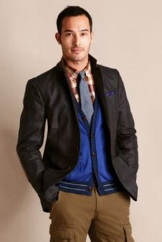 Men's Waxed Cotton Plaid Jacket from Lands' End Canvas. Dress code with a wink & a nod.