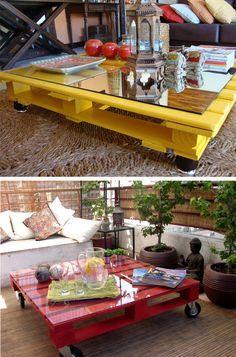 Use Pallet Wood Projects to Create Unique Home Decor Items Pallet Patio Furniture, Furniture Projects, Diy Furniture, Pallet Tables, Painted Furniture, Furniture Market, Antique Furniture, Table Palette, Palette Deco