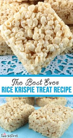 The Best Ever Rice Krispie Treat Perfected over the years in the Two Sisters Crafting kitchen, our Best Ever Rice Krispie Treat Recipe makes the most delicious Rice Krispie Treats we've ever eaten. Classic Desserts, Great Desserts, Köstliche Desserts, Dessert Recipes, Dessert Ideas, Marshmallow Treats, Marshmallow Rice Krispies, Mini Marshmallows, Rice Krispy Treats Recipe