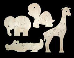 Para niños de madera rompecabezas animales del por nwtoycrafters