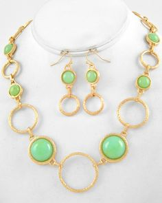 Bauble of the Day - Minty green and goldtone #fashionjewelry #necklace and #earring set - $12.99 includes shipping