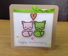 Card made using Lawn Fawn's in to the woods set. These foxes are so cute. They have been stamped on Doodlebug paper.
