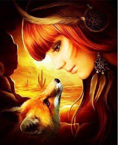 Digital Art Fantasy Girl Photo Manipulation 51 Ideas For 2019 Arte Digital Fantasy, Fantasy Art, Art Fox, Illustration Art, Illustrations, Animal Totems, Fantasy Women, Spirit Animal, Fox Spirit