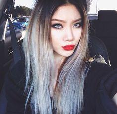 White blonde brunette ombré hair