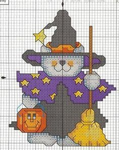 Halloween Trick or Treat cat cross stitch