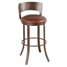 "Callee Bailey 30"" Swivel Bar Stool Upholstery: Mayflower Cocoa, Frame Finish: Sun Bronze"