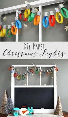 These DIY paper Christmas lights are such a great craft idea to make this winter! They're perfect handmade Christmas decorations for the home, and kids will love to make them too! craft for office Christmas Lights Paper Garland — Doodle and Stitch Diy Christmas Lights, Christmas Ornament Wreath, Christmas Paper Crafts, Christmas Decorations For The Home, Christmas Crafts For Kids, Halloween Decorations, Christmas Holiday, White Christmas, Christmas Decoration For Office