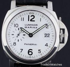 Panerai Luminor Marina PAM49 Mens Stainless Steel 40mm Automatic Watch 2 Straps