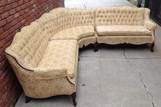 Vintage French Provincial Sectional Sofa - Then get a little custom sectional couch in case your room is too little even for Settee Sofa, Sectional Sofa, Hollywood Regency, Vintage Hollywood, Seasons In The Sun, Victorian Sofa, French Cottage, French Country, Geometric Fabric