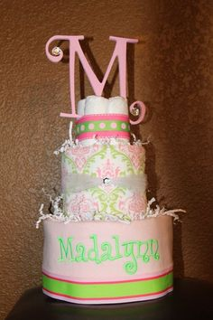 3 Tier Lime Green and Pink Damask Diper by babychiclilboutique, $55.00