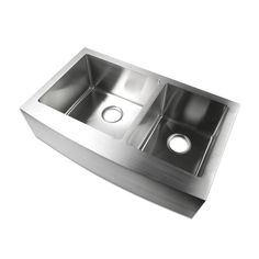 "Luxier 33"" Farmhouse Apron 60/40 Offset Double Bowl Stainless Steel Handmade Kitchen Sink R15 A002-R – Showroom Sinks"