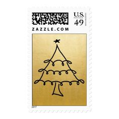 Modern Faux Gold Foil Christmas Tree Holiday Postage