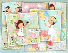 Little Girls  set of 6  digital collage sheet  Printable