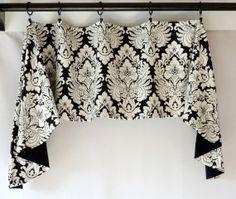 Custom Valance Swag Jabot Damask Black White by SewDevineDesigns, $76.00