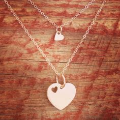 Mommy and Me heart charm necklaces by MandyPowersDesigns on Etsy, $40.00
