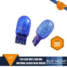 2PCS T20 Bulb Natural Glass Blue 7443 580 W21/5W DRL Bulbs Double Filaments W3*16q Super White For Vauxhall ASTRA J Car Lights