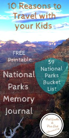 Reasons to travel with your kids. Plus FREE National Parks Memory Journal and Bucket List of the 59 National Parks. Travel With Kids, Family Travel, Family Vacations, Memory Journal, Travel Sights, Teaching Geography, Kid Pool, Field Trips, Road Trips