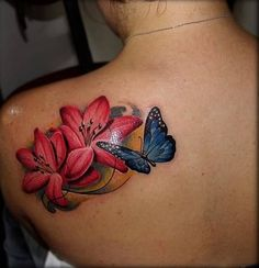 Blue Butterfly And Hibiscus Tattoo On Left Back Shoulder