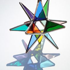 Miniature Rainbow Moravian Star  Handmade Stained Glass by LAGlass, $17.00