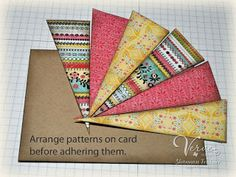 cardmaking tutorial from OWH Stars and Stamps:  Starburst card ... great way to use up larger scraps ...