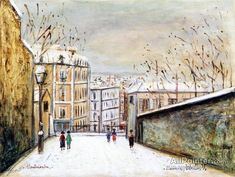 Maurice Utrillo Rue Du Mont-cenis In Montmartre, In The Snow oil painting reproductions for sale