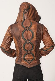 X-Large Men's Rainbow leather Serpent vest jacket by AnahataDesign