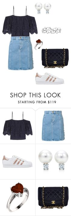 """denim skirt"" by daddy-allahu-akbar ❤ liked on Polyvore featuring Ganni, Chloé, adidas Originals and Chanel"