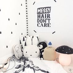 mommo design: IN THE CORNER... Miffy and pals in black and white with a Heico toadstool lamp #KidsRoom