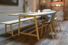 Gotta love WRONG FOR HAY ! Bench & table in our store in Amsterdam