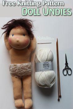 Puppe: Kostenlose Strickanleitung zum Stricken eines Höschenens für Puppen.