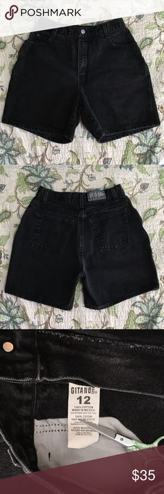 "Vintage 90s high waisted black denim shorts Vintage 90s high waisted black denim shorts. Measurements are taken laying flat: waist: 14"" hip: 22"" rise: 12.5"" Vintage Shorts Jean Shorts"