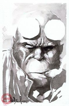 Hellboy by Dave Wachter  A gruff man-beast....is it weird that I would marry Hellboy?