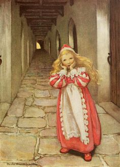 "Illustration by Jessie Wilcox Smith for The Princess and the Goblin by George MacDonald. ""She ran for some distance, turned several times, and then began to be afraid."""